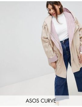 Asos Curve Waterfall Parka With Contrast Liner by Asos Curve