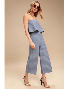 Eustatia Blue And White Striped Culottes by Lulus
