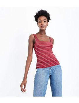 Red Stripe Square Neck Vest by New Look