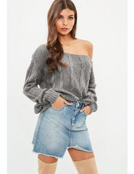 Petite Grey Off The Shoulder Cable Knitted Jumper by Missguided