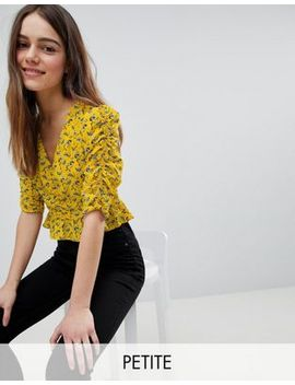 River Island Petite Ruched Front Floral Print Top by River Island Petite