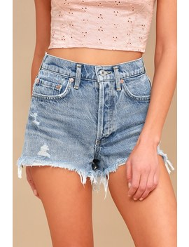 Parker Light Wash Distressed High Waisted Shorts by Agolde