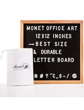 """Black Felt Changeable Letter Board 12""""X12"""" By Monet Office Art: Letterboard With Solid Oak Wood Frame & Mount Hook 