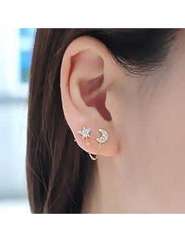 Boucles D'oreilles à Double Strass Moon Star by Cheermo