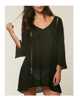 O'neill Estella V Neck Crochet Trim Bell Sleeve Dress Cover Up by O'neill