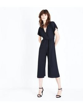 Black Ribbed Wrap Front Culotte Jersey Jumpsuit by New Look
