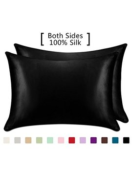 Yanibest 19 Mome 2 Pack 100 Percents Mulberry Silk Pillow Cases For Hair And Skin (Queen, Black) by Yanibest