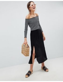 Asos Design Crinkle Midaxi Skirt With Buttons And Double Split by Asos Collection