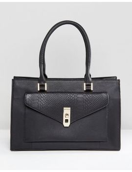 Paul Costelloe Real Leather Black Tote With Snake Embossed Pocket by Bag
