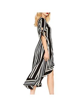 Oasis Stripe Wrap Midi Dress, Black/Multi by Oasis