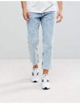 New Look Skate Fit Jeans In Acid Wash Blue by New Look