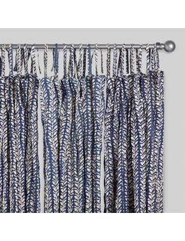 Navy Blue Crinkle Voile Trailing Leaves Curtains Set Of 2 by World Market