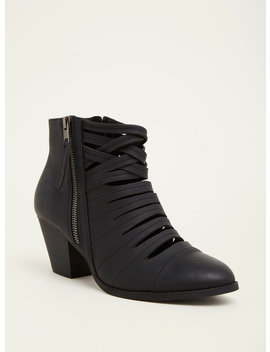 Black Strappy Front Stacked Heel Booties (Wide Width) by Torrid