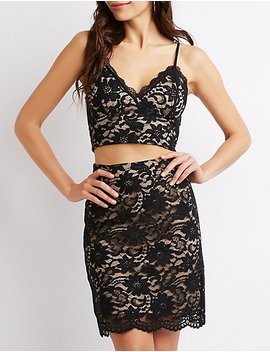 Floral Lace Bustier Crop Top by Charlotte Russe