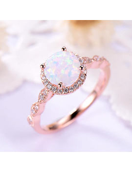 Opal Engagement Ring Halo 14k 18k Rose Gold 925 Sterling Silver Cz Diamond Marquise Milgrain Wedding Band Antique Anniversary Gift Women Set by Etsy