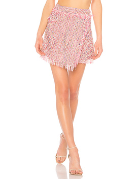 Fringe Mini Wrap Skirt by Milly