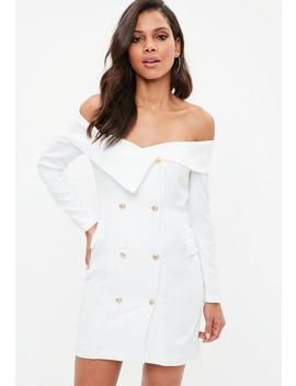 White Bardot Gold Button Blazer Shift Dress by Missguided