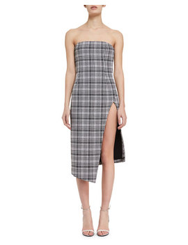 Strapless Plaid Bustier Dress by Off White
