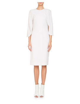 Jewel Neck Cape Sleeve Silk Georgette Cocktail Dress by Givenchy