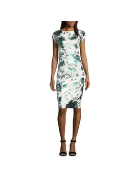 Weslee Rose Short Sleeve Floral Sheath Dress by Weslee Rose
