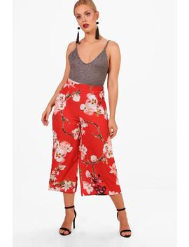 Plus Lisa Oriental Floral Print Woven Trouser by Boohoo