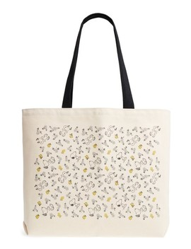 Pintrell Snoopy & Woodstock Peanuts Canvas Tote With Pins by Pintrill