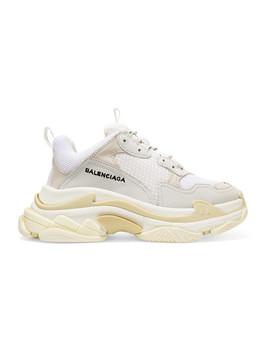Triple S Leather Trimmed Mesh Platform Sneakers by Balenciaga