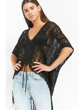Distressed Ladder Lace Up Fringe Sweater by Forever 21