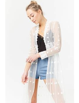 Sheer Plunging Embroidered Lace Duster by Forever 21