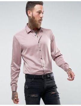 Розовая атласная рубашка классического кроя Asos by Asos