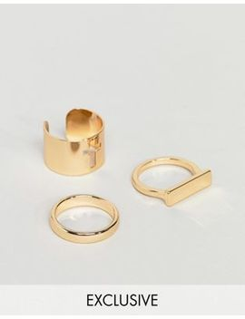 3 золотистых кольца Design B эксклюзивно для Asos by Asos
