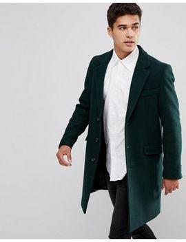 Пальто бутылочно зеленого цвета с добавлением шерсти Asos by Asos