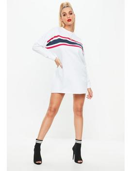 White Long Sleeve Stripe Front Sweatshirt Dress by Missguided
