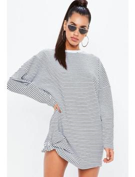 White Oversized Stripe Sweater Dress by Missguided
