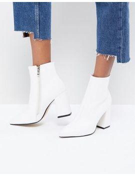 Public Desire Empire White Block Heeled Ankle Boots by Public Desire