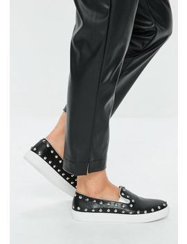 Black Stud Slip On Sneakers by Missguided