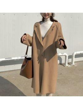 Plain Long Notch Lapel Coat by Miss Yoyo