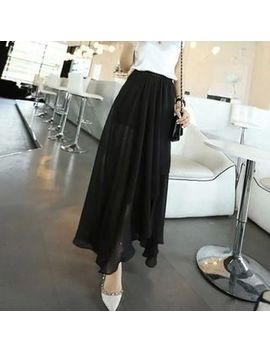 Asymmetric Midi Chiffon A Line Skirt by Smooch