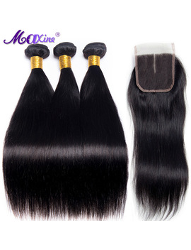 Maxine Peruvian Straight Hair 3 Bundles With Middle Part Closure Human Hair Weave With Lace Closure 4 Pcs Non Remy Natural Color by Ali Express