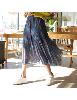 Floral Chiffon Midi Pleat Skirt by Click