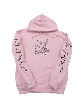 Lil Peep Cry Baby Twitter Bird Design In Black Print On A Light Pink Hoodie by Cc
