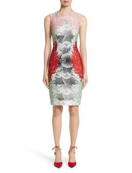 Coral Print Scuba Sheath Dress by Yigal AzrouËl