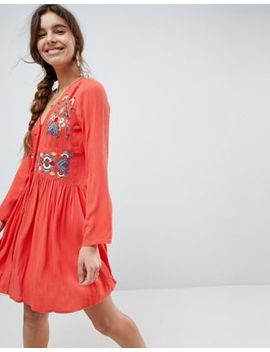 Asos Embroidered Mini Dress With Button Through by Asos Collection