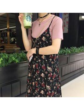 Floral Print Spaghetti Strap Dress by Moon City