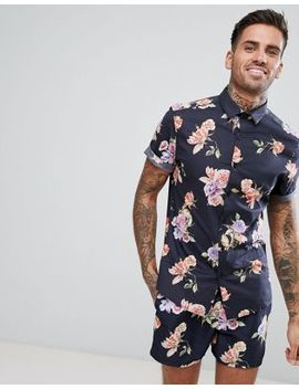 Asos Stretch Slim Shirt With Floral Print In Black by Asos