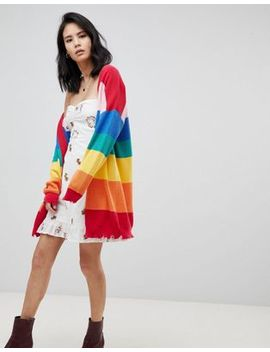 Honey Punch Oversized Cardigan In Rainbow Stripe by Honey Punch