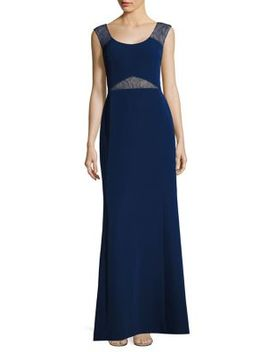 Lace Insets Cutout Gown by Aidan Mattox