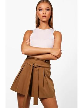 Leah Tailored Smart Tie Belt Shorts by Boohoo