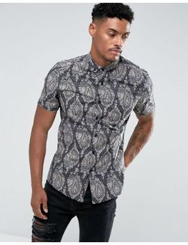 Asos Slim Stretch Shirt With Paisley Print by Asos