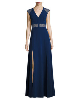 V Neck Cap Sleeve Lace Trim Crepe Gown, Navy by Neiman Marcus